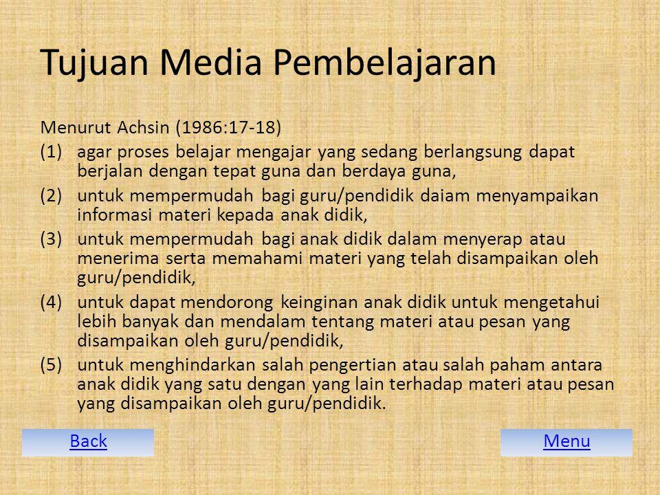 Tujuan Media Pembelajaran