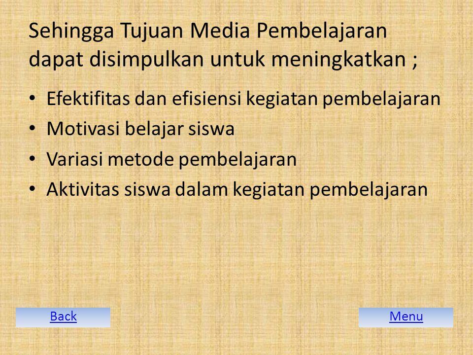 Sehingga Tujuan Media Pembelajaran dapat disimpulkan untuk meningkatkan ;