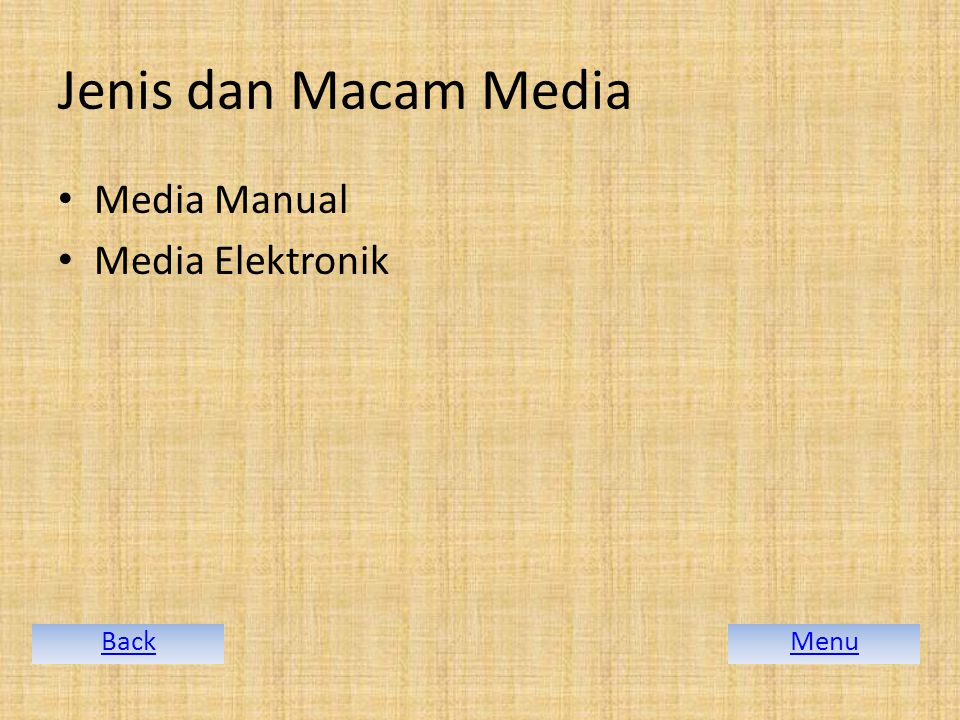 Jenis dan Macam Media Media Manual Media Elektronik Back Menu