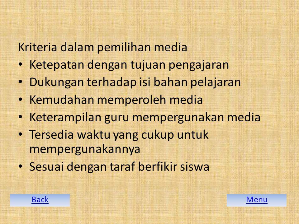 Kriteria dalam pemilihan media Ketepatan dengan tujuan pengajaran