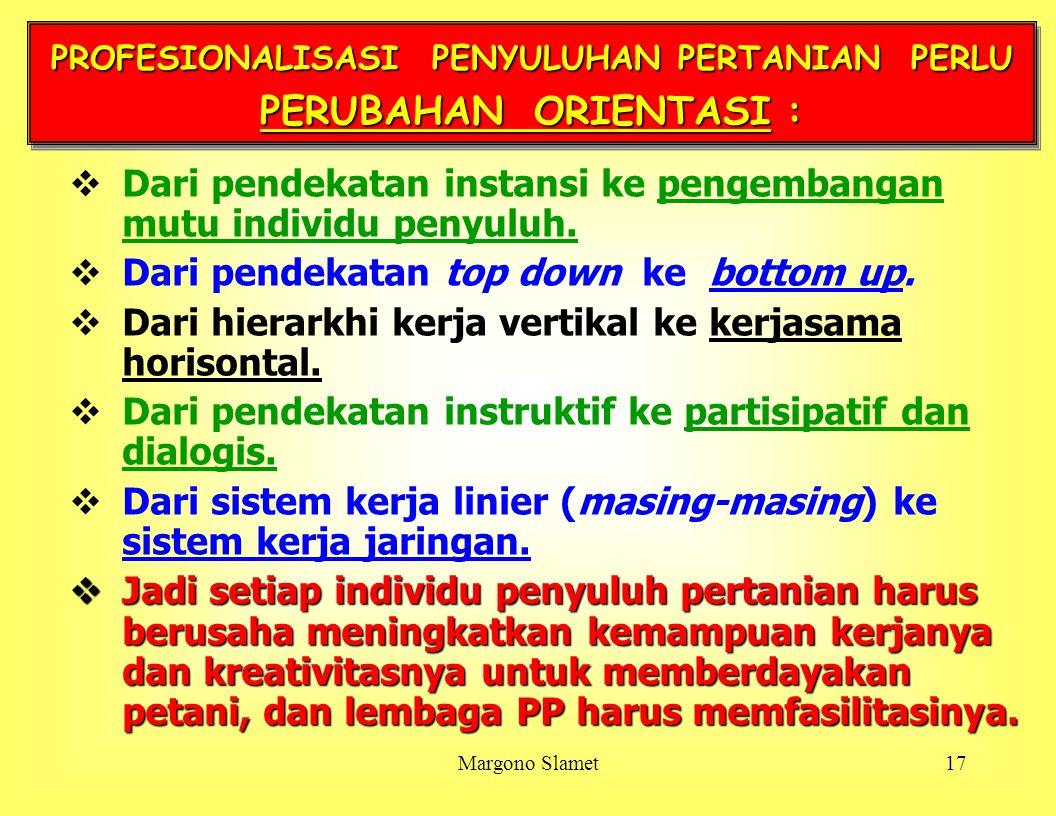 PROFESIONALISASI PENYULUHAN PERTANIAN PERLU PERUBAHAN ORIENTASI :