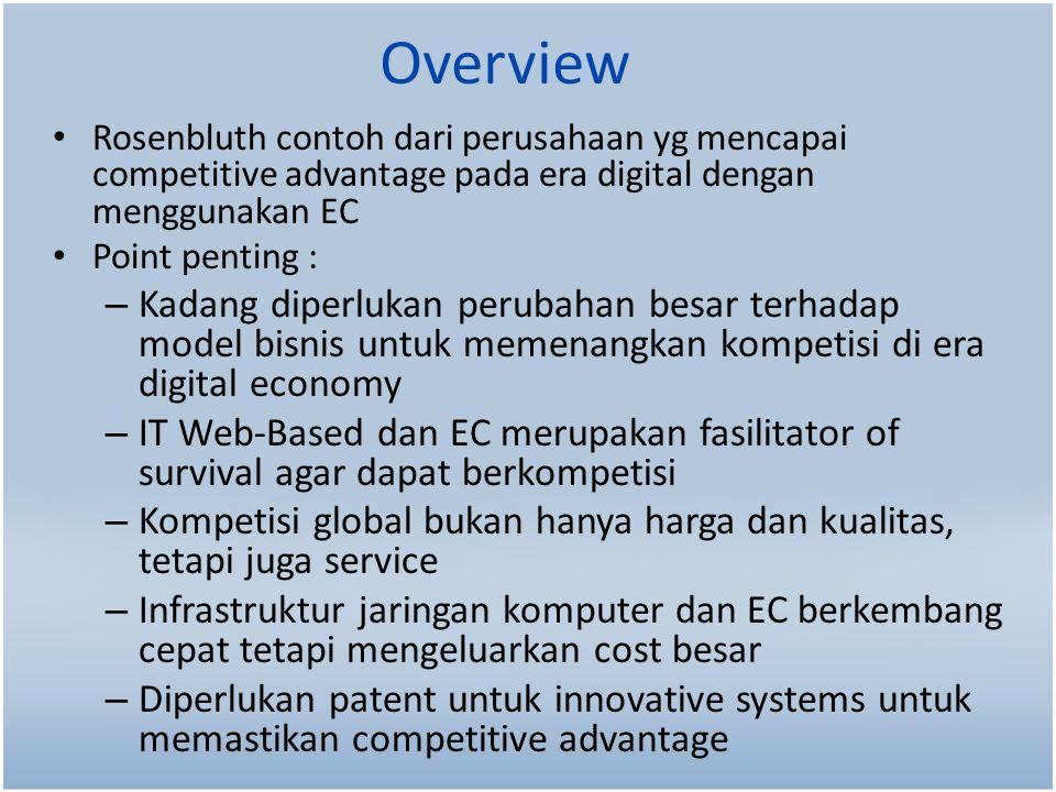 Overview Rosenbluth contoh dari perusahaan yg mencapai competitive advantage pada era digital dengan menggunakan EC.