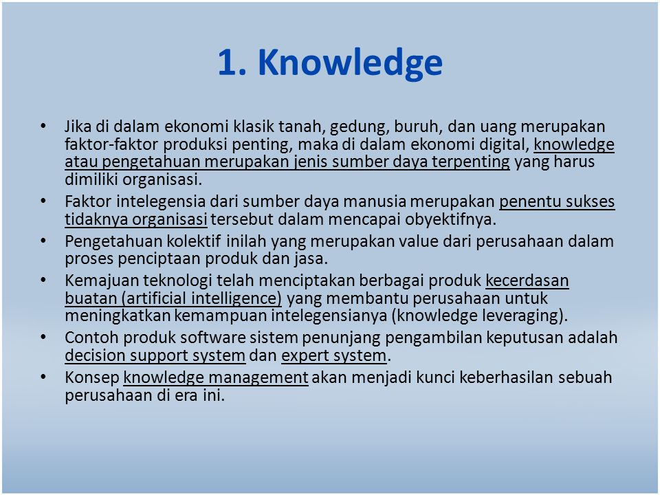 1. Knowledge