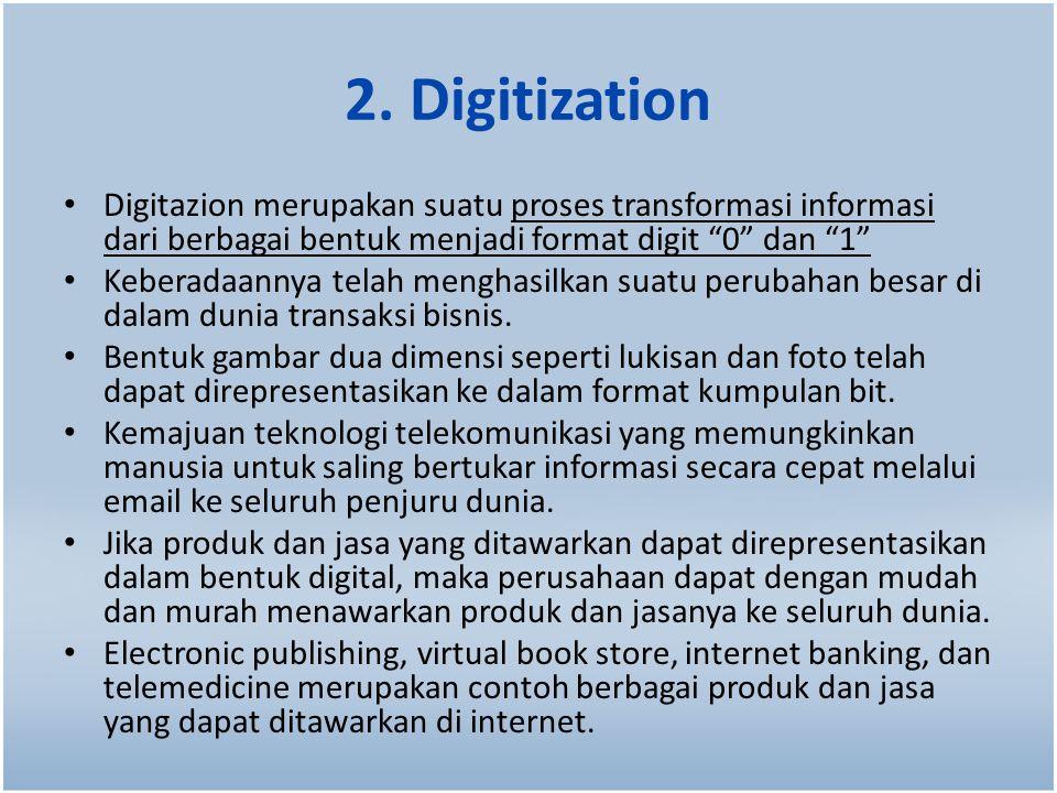 2. Digitization Digitazion merupakan suatu proses transformasi informasi dari berbagai bentuk menjadi format digit 0 dan 1