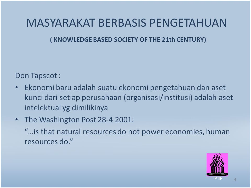 MASYARAKAT BERBASIS PENGETAHUAN ( KNOWLEDGE BASED SOCIETY OF THE 21th CENTURY)