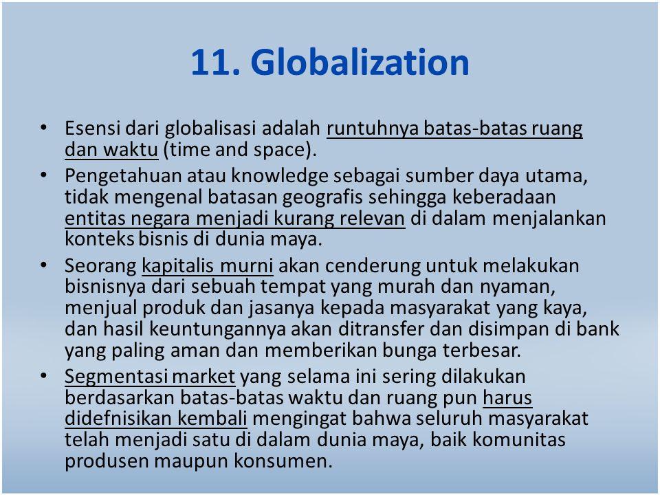 11. Globalization Esensi dari globalisasi adalah runtuhnya batas-batas ruang dan waktu (time and space).