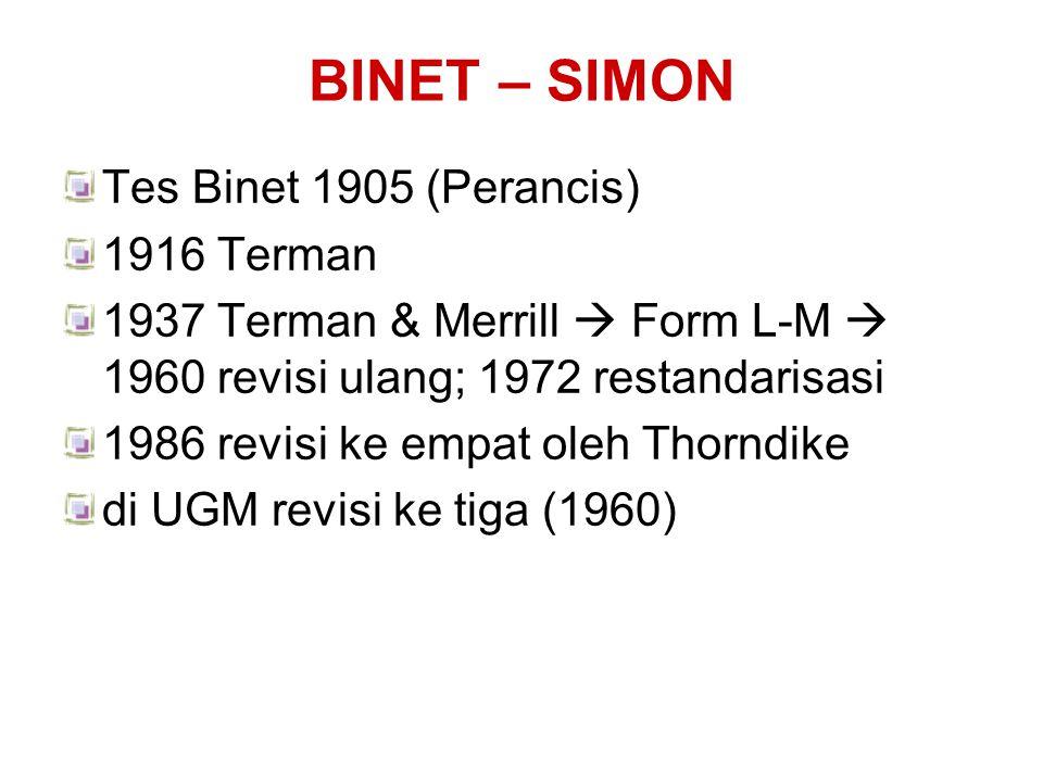 BINET – SIMON Tes Binet 1905 (Perancis) 1916 Terman
