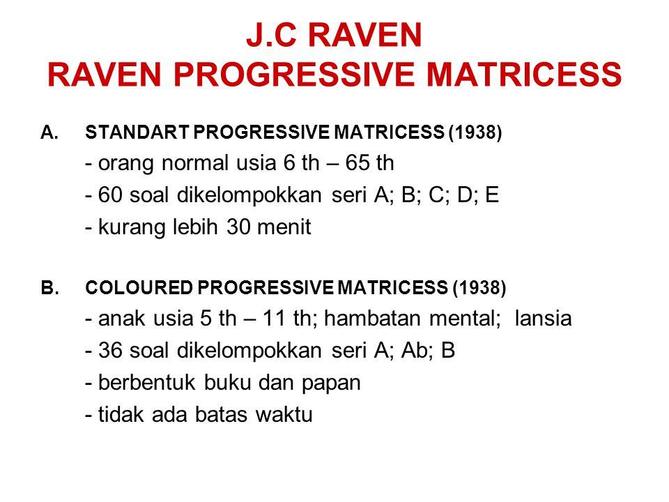 J.C RAVEN RAVEN PROGRESSIVE MATRICESS