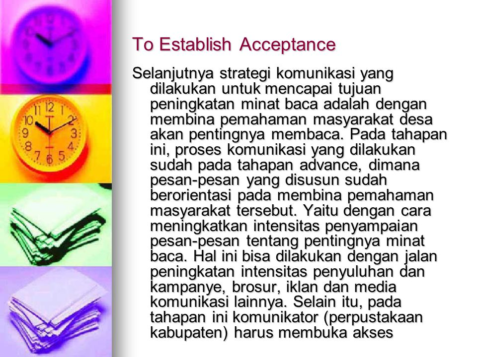 To Establish Acceptance