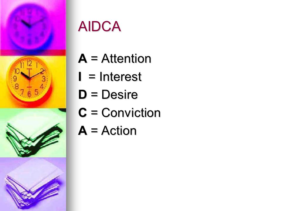 AIDCA A = Attention I = Interest D = Desire C = Conviction A = Action