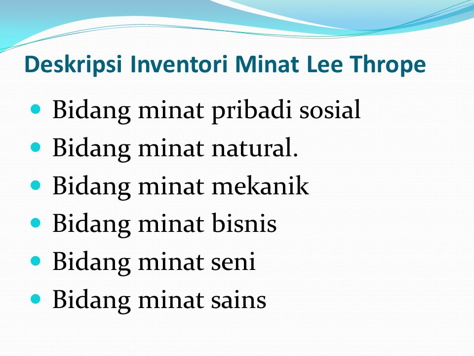 Deskripsi Inventori Minat Lee Thrope