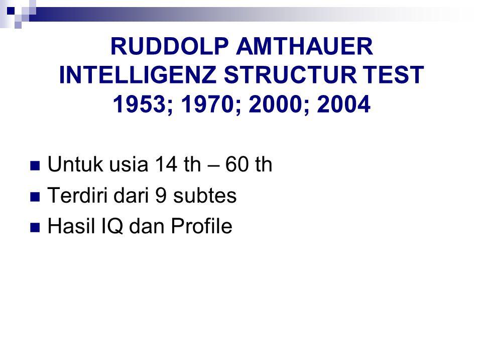 RUDDOLP AMTHAUER INTELLIGENZ STRUCTUR TEST 1953; 1970; 2000; 2004