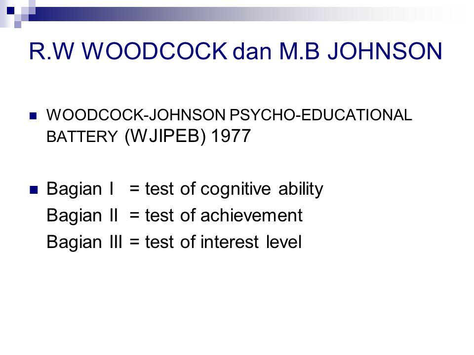 R.W WOODCOCK dan M.B JOHNSON