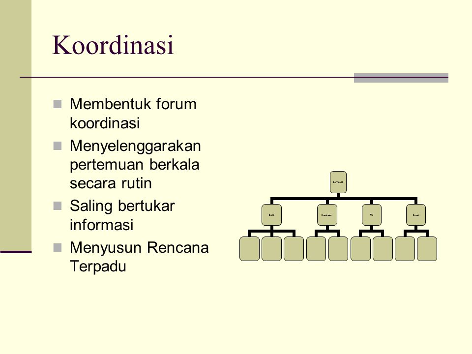 Koordinasi Membentuk forum koordinasi