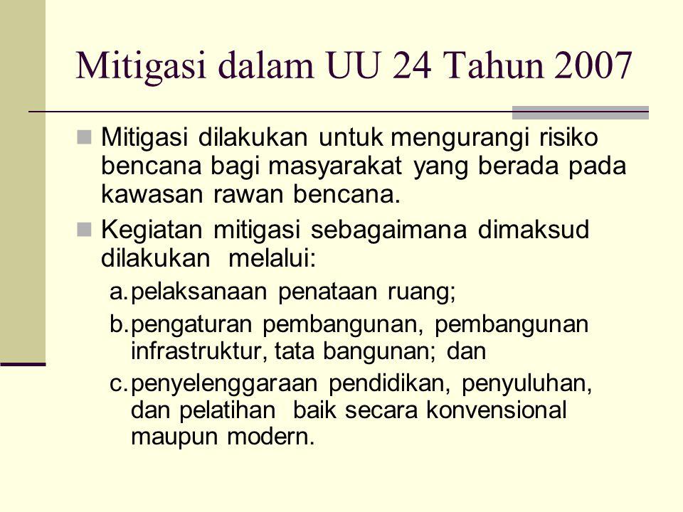 Mitigasi dalam UU 24 Tahun 2007