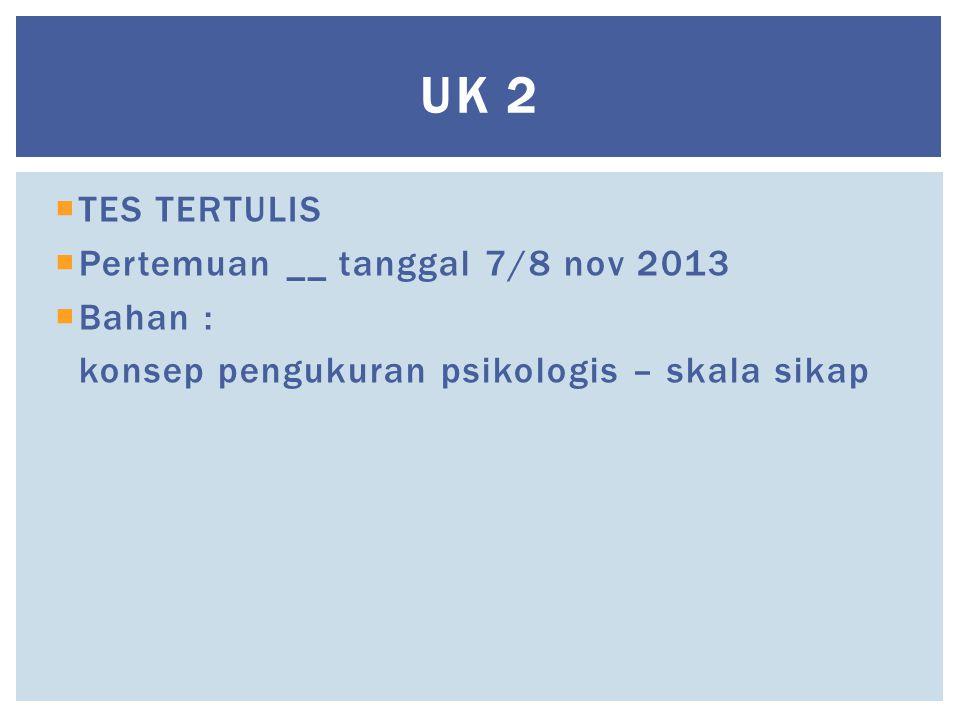 UK 2 TES TERTULIS Pertemuan __ tanggal 7/8 nov 2013 Bahan :