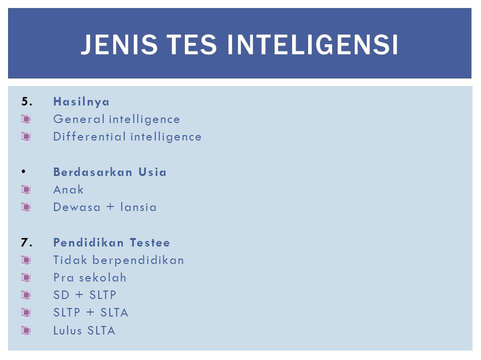JENIS TES INTELIGENSI Hasilnya General intelligence