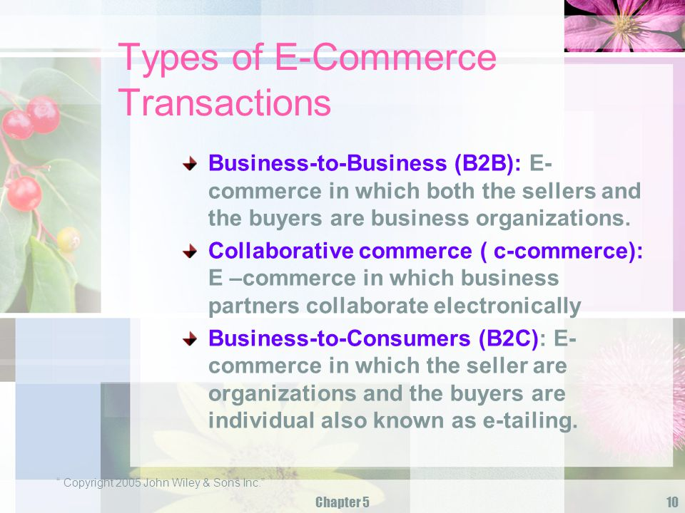 Types of E-Commerce Transactions