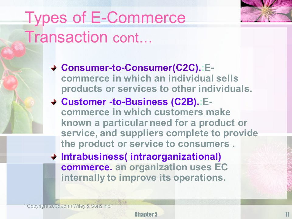 Types of E-Commerce Transaction cont…