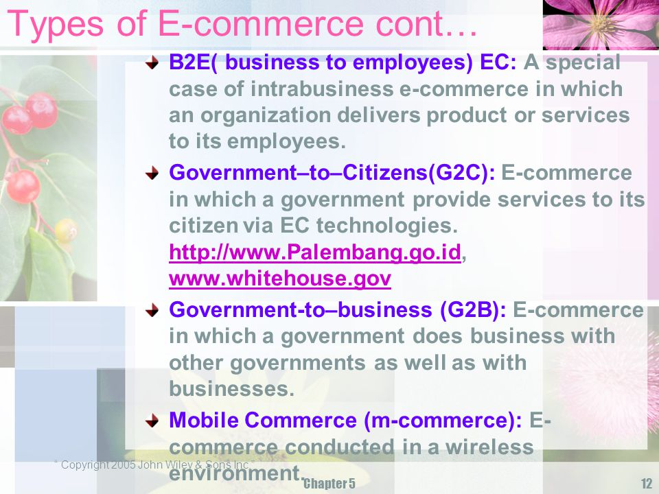 Types of E-commerce cont…