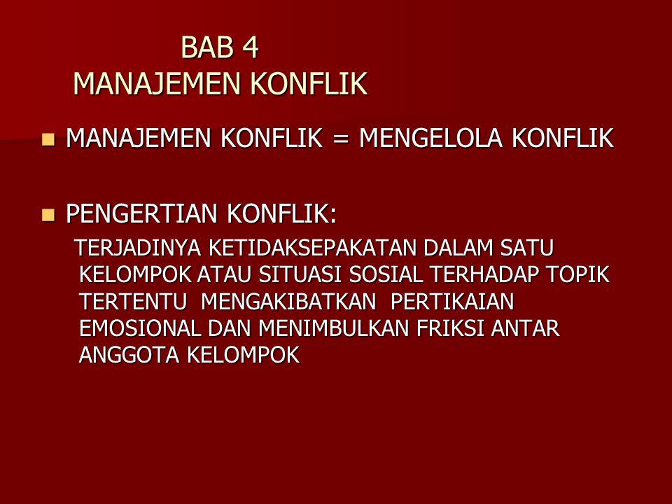 BAB 4 MANAJEMEN KONFLIK MANAJEMEN KONFLIK = MENGELOLA KONFLIK