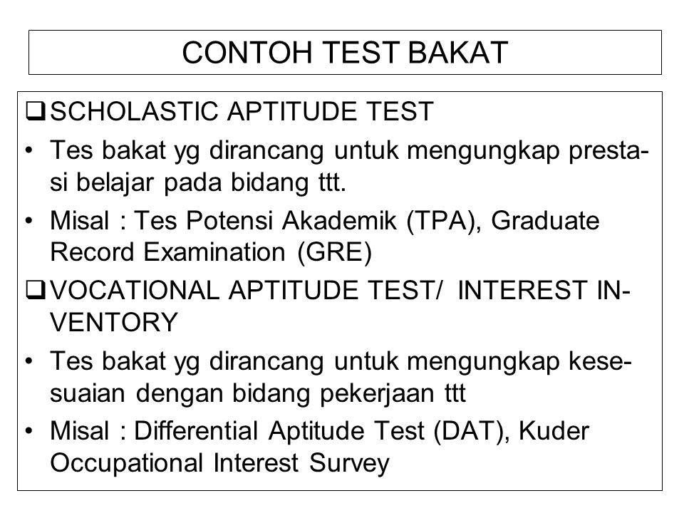 CONTOH TEST BAKAT SCHOLASTIC APTITUDE TEST