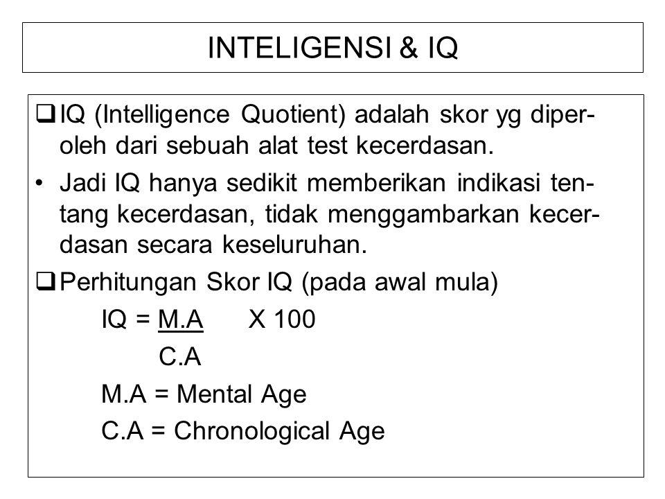 INTELIGENSI & IQ IQ (Intelligence Quotient) adalah skor yg diper-oleh dari sebuah alat test kecerdasan.