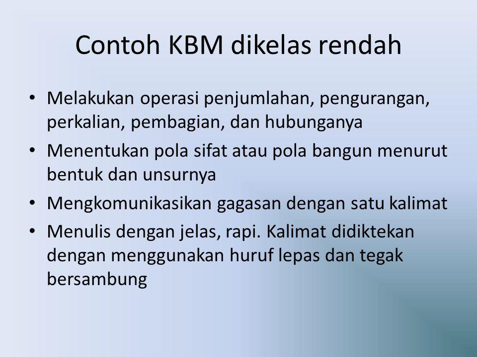 Contoh KBM dikelas rendah