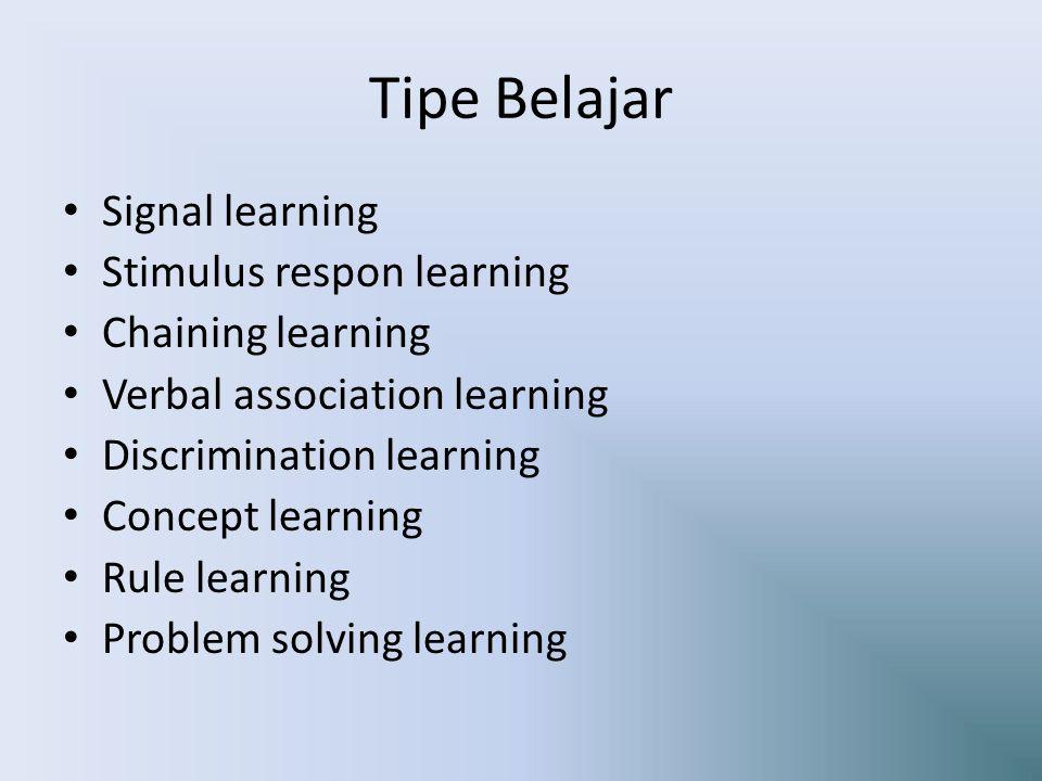 Tipe Belajar Signal learning Stimulus respon learning