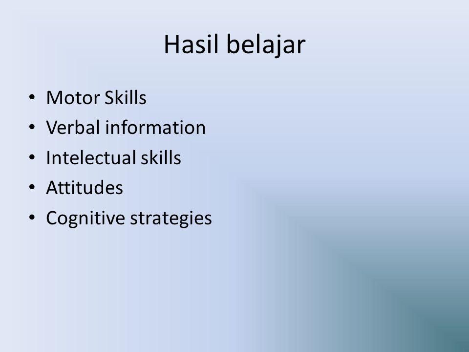 Hasil belajar Motor Skills Verbal information Intelectual skills