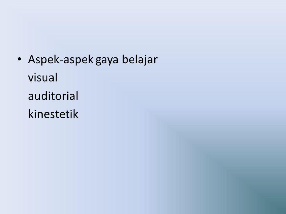 Aspek-aspek gaya belajar