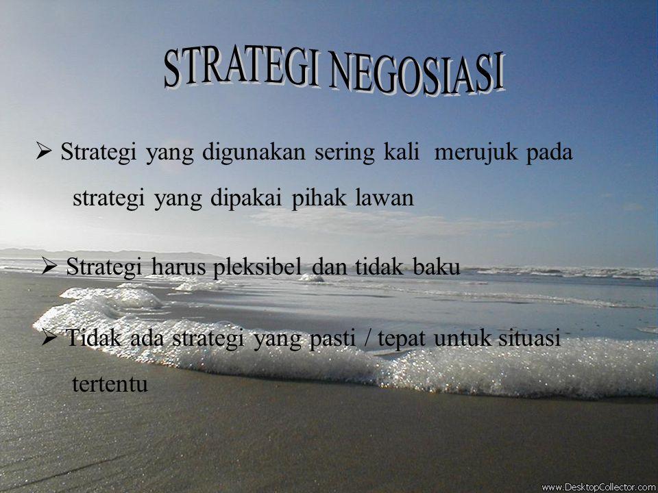 STRATEGI NEGOSIASI Strategi yang digunakan sering kali merujuk pada
