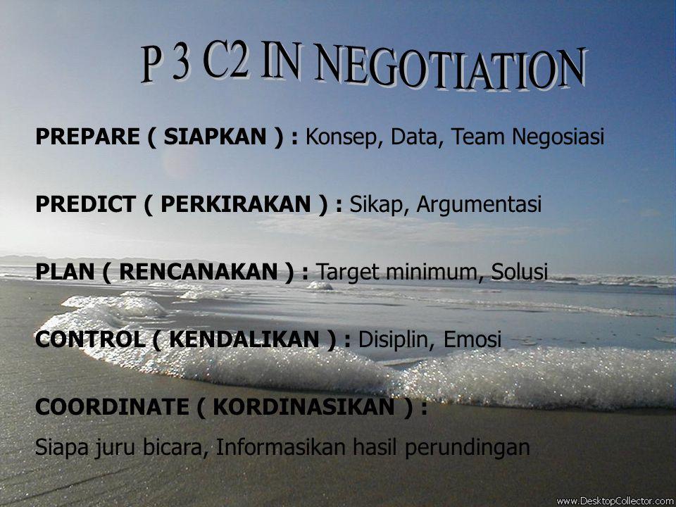 P 3 C2 IN NEGOTIATION PREPARE ( SIAPKAN ) : Konsep, Data, Team Negosiasi. PREDICT ( PERKIRAKAN ) : Sikap, Argumentasi.