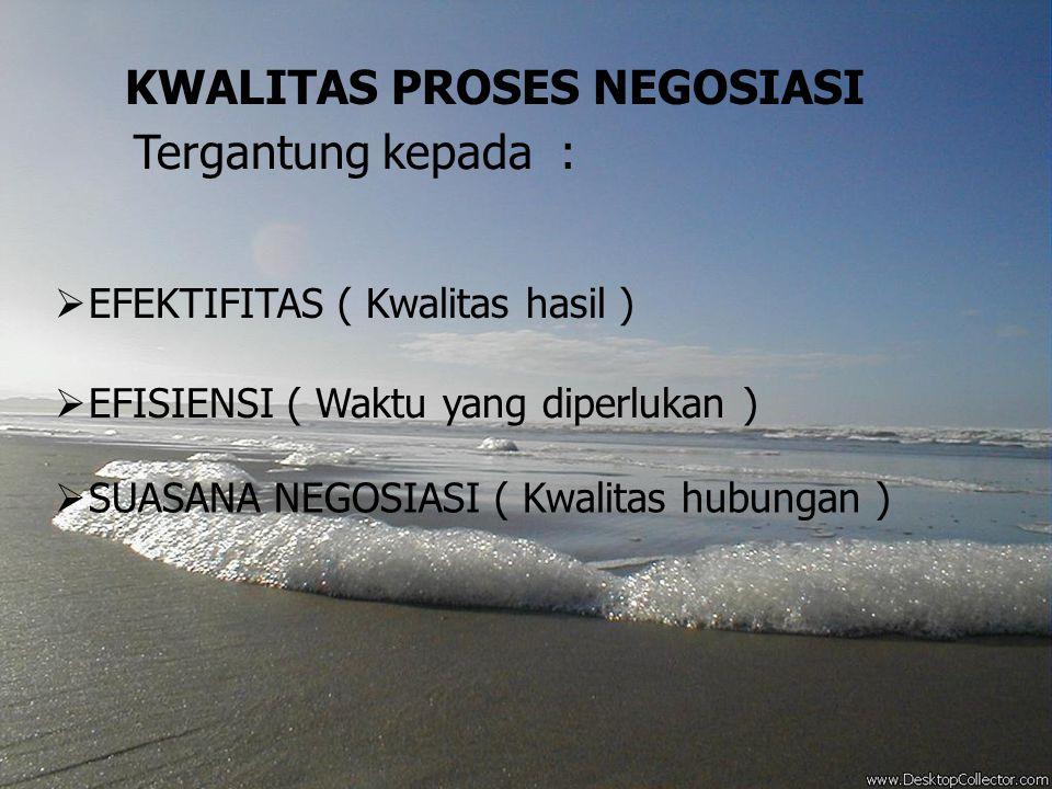 KWALITAS PROSES NEGOSIASI Tergantung kepada :