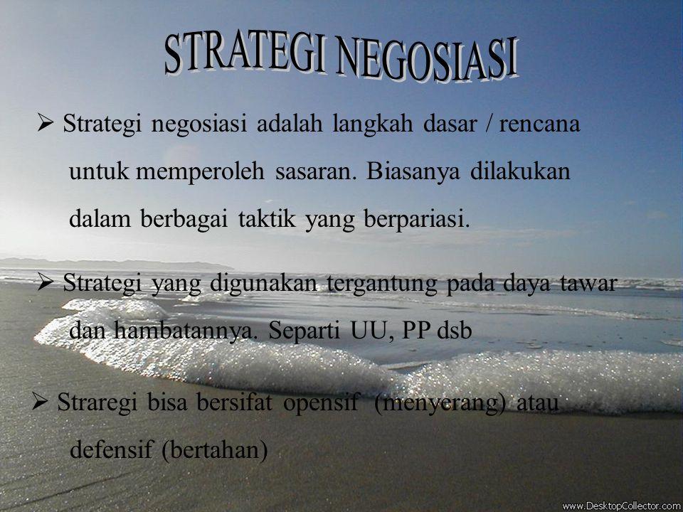STRATEGI NEGOSIASI Strategi negosiasi adalah langkah dasar / rencana