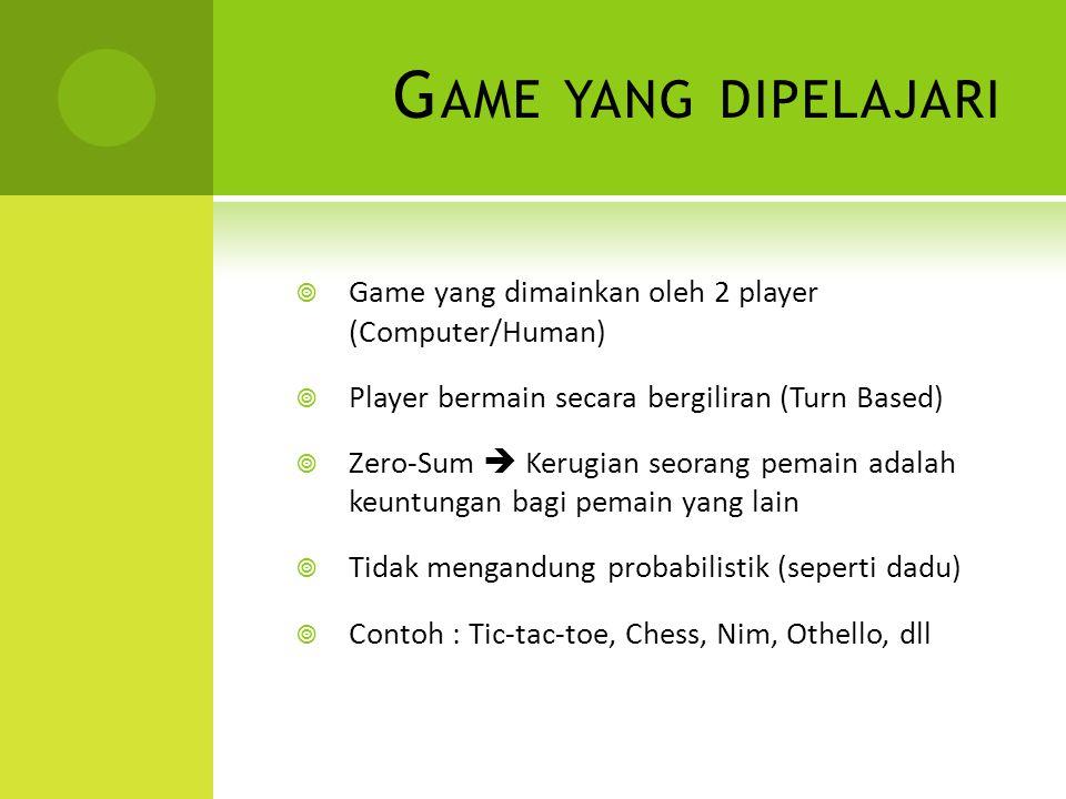 Game yang dipelajari Game yang dimainkan oleh 2 player (Computer/Human) Player bermain secara bergiliran (Turn Based)