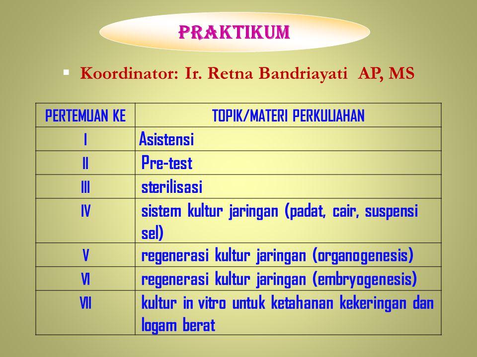 Koordinator: Ir. Retna Bandriayati AP, MS TOPIK/MATERI PERKULIAHAN