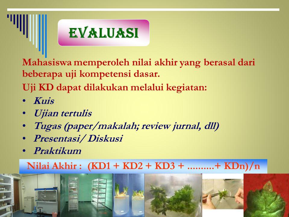 Nilai Akhir : (KD1 + KD2 + KD3 + ..........+ KDn)/n