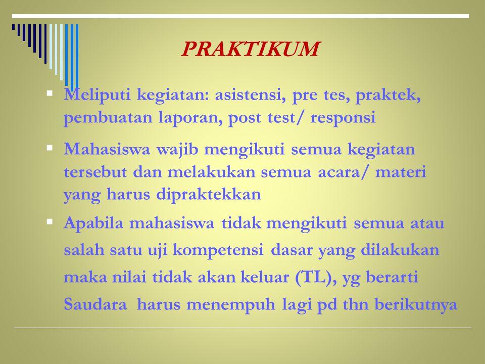 PRAKTIKUM Meliputi kegiatan: asistensi, pre tes, praktek, pembuatan laporan, post test/ responsi.