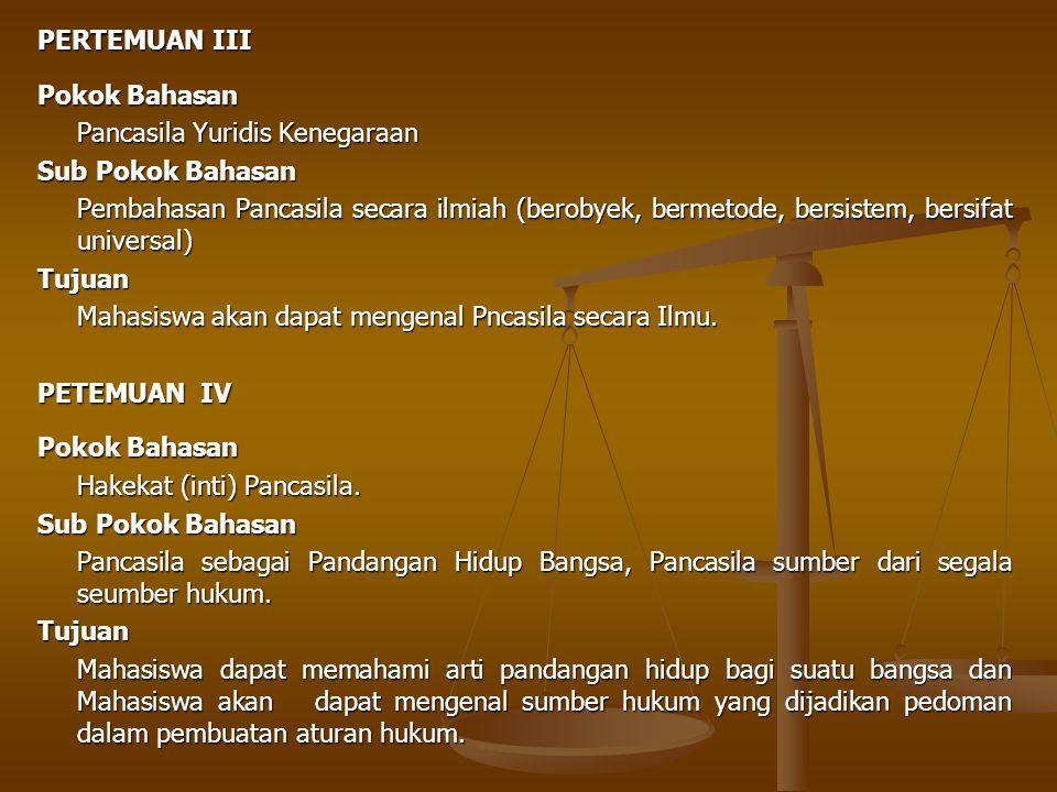 PERTEMUAN III Pokok Bahasan. Pancasila Yuridis Kenegaraan. Sub Pokok Bahasan.