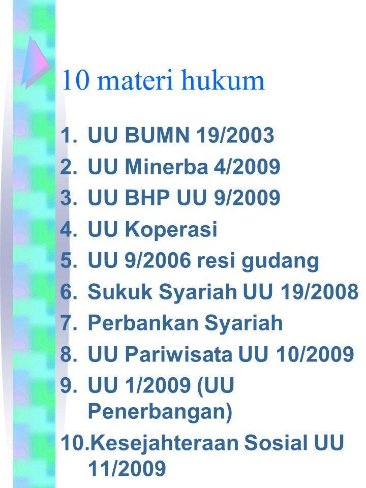 10 materi hukum UU BUMN 19/2003 UU Minerba 4/2009 UU BHP UU 9/2009