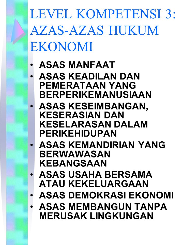LEVEL KOMPETENSI 3: AZAS-AZAS HUKUM EKONOMI