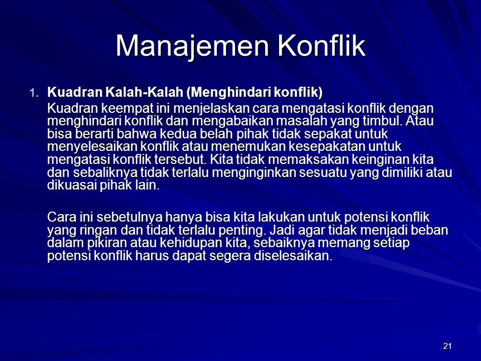 Manajemen Konflik Kuadran Kalah-Kalah (Menghindari konflik)