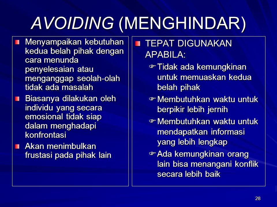 AVOIDING (MENGHINDAR)