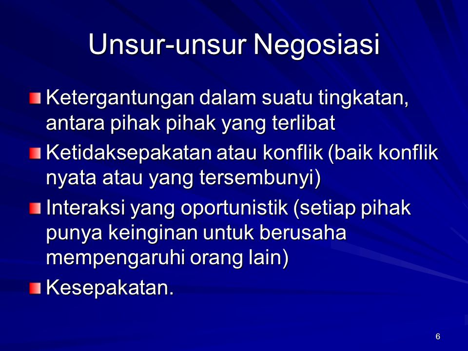 Unsur-unsur Negosiasi