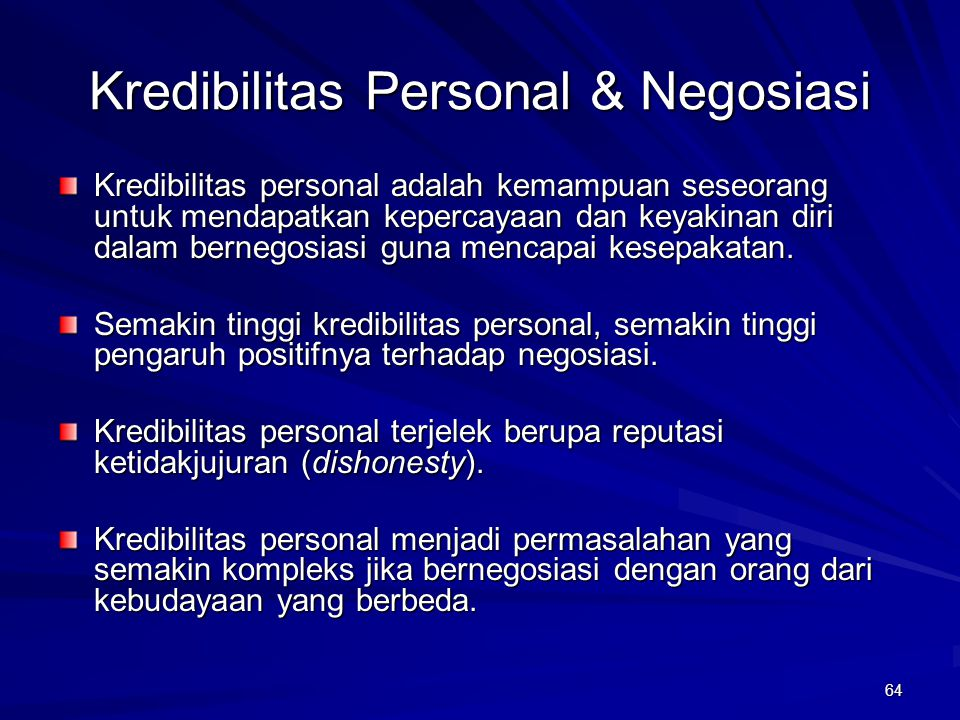 Kredibilitas Personal & Negosiasi