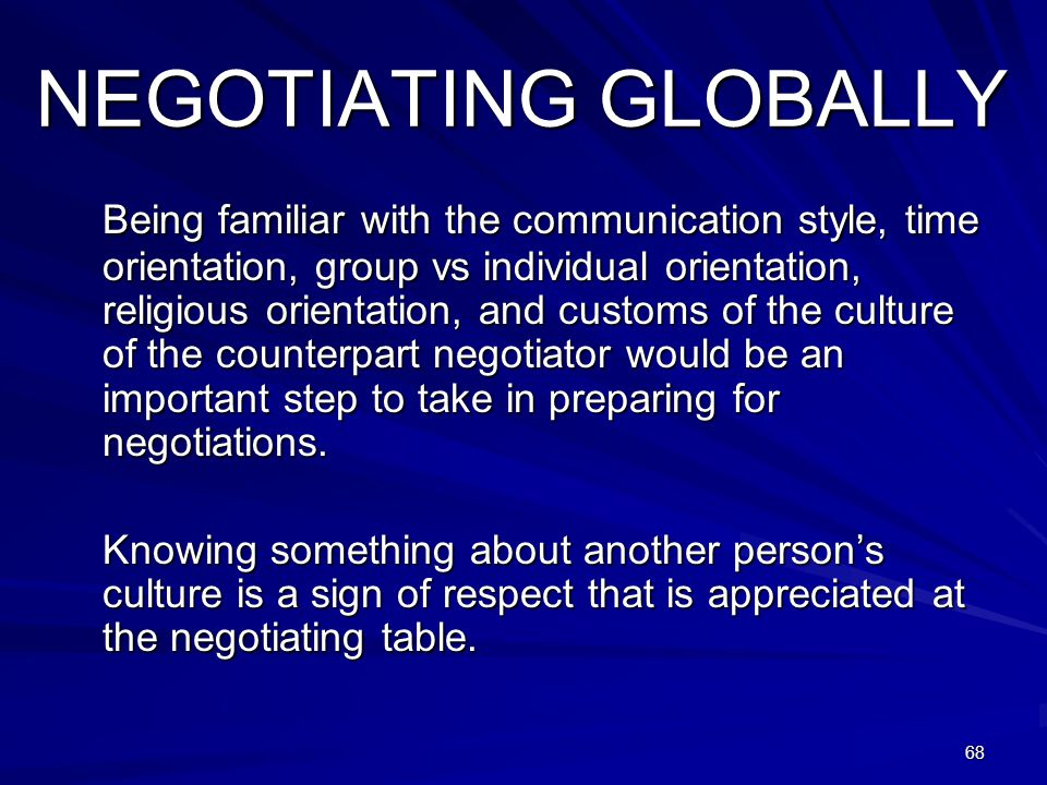 NEGOTIATING GLOBALLY