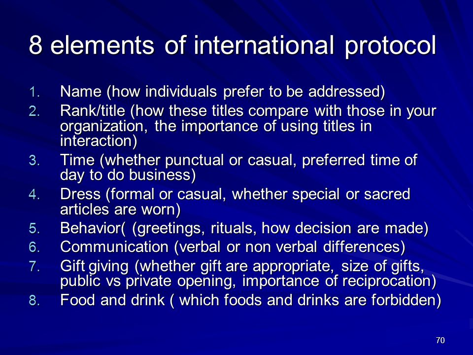 8 elements of international protocol