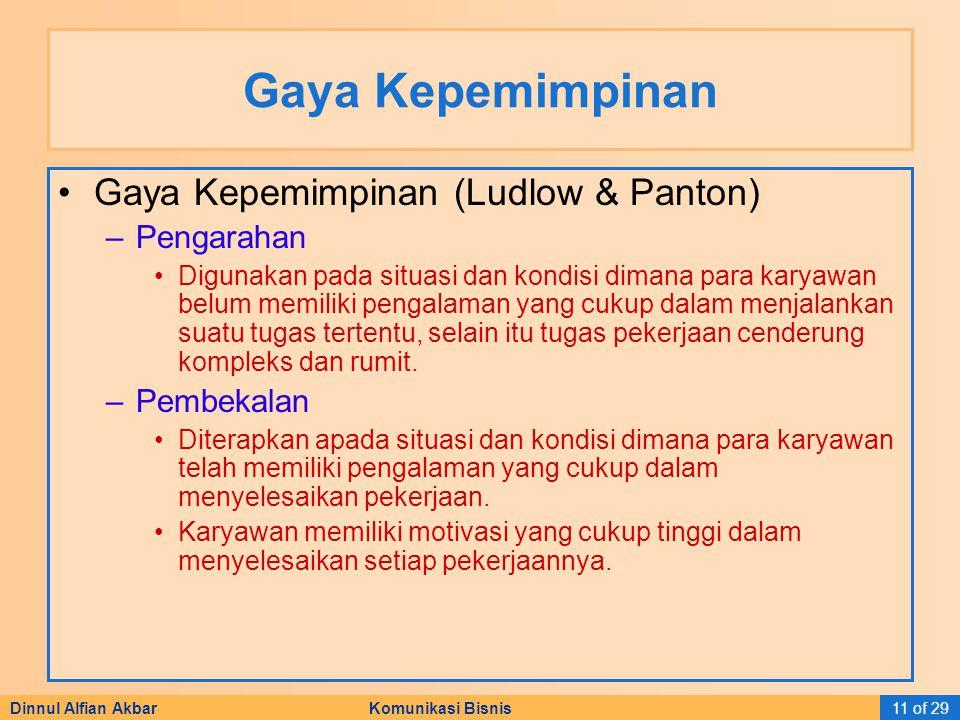 Gaya Kepemimpinan Gaya Kepemimpinan (Ludlow & Panton) Pengarahan