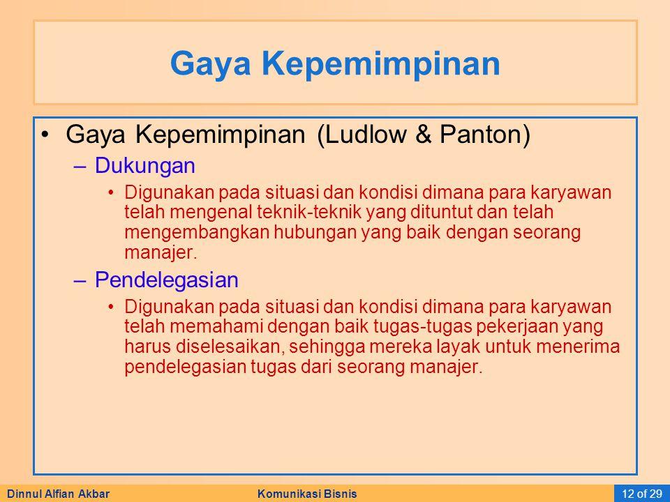 Gaya Kepemimpinan Gaya Kepemimpinan (Ludlow & Panton) Dukungan